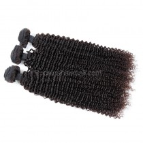 Peruvian virgin unprocessed human hair wefts Natural Color Kinky Curly 3 pieces a lot  Hair Bundles 95g/pc [PVKC03]
