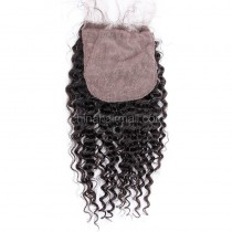 Malaysian Virgin Human Hair 4*4 Popular Silk Base Lace Closure Kinky Curly Natural Hair Line and Baby Hair [MVKCSTC]