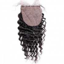 Malaysian Virgin Human Hair Popular 4*4 Silk Base Lace Closure Deep Wave Natural Hair Line and Baby Hair [MVDWSTC]