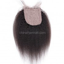 Brazilian Virgin Human Hair 4*4 Popular Silk Base Lace Closure Kinky Straight Natural Hair Line and Baby Hair [BVKSSTC]