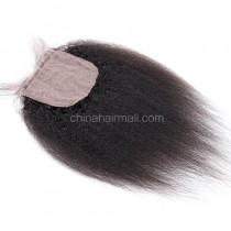 Malaysian Virgin Human Hair Popular 4*4  Silk Base Lace Closure Kinky Straight Natural Hair Line and Baby Hair [MVKSSTC]