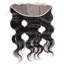 Malaysian Virgin Human Hair Popular 13*4 Lace Frontal with 4*4 Silk Base Body Wave Natural Hair Line and Baby Hair [MVBWSLF]