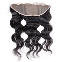 Malaysian Virgin Human Hair Popular 13*4 Lace Frontal with 4*4 Silk Base Body Wave Natural Hair Line and Baby Hair [MVBWSLF]