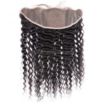 Malaysian Virgin Human Hair Popular 13*4 Lace Frontal with 4*4 Silk Base Kinky Curly Natural Hair Line and Baby Hair [MVKCSLF]