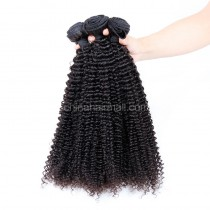 Peruvian virgin unprocessed human hair wefts Natural Color Kinky Curly 4 pieces a lot 95g/pc [PVKC04]