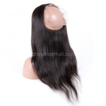 "Indian Remy Hair 360 Lace Frontal Closure 22.5""*4""*2 Elastic Band"