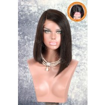 Silk Top Side Part Asymmetrical Bob Affordable Lace Wigs Indian Remy Hair Yaki Straight [SPLW13]
