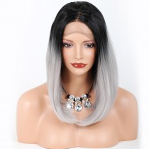 In Stock Synthetic Lace Front Wigs #1B/Grey Color 12Inches [SLFW17]