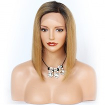 In Stock Glueless Lace Front Wigs Peruvian Virgin Hair Ombre Blonde Wigs