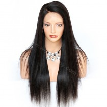 In Stock 4.5inch Deep Part Lace Front Wigs Indian Remy Hair Yaki Straight C Part
