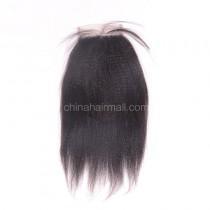 Brazilian Virgin Human Hair 4*4 Popular Lace Closure Kinky Straight Natural Hair Line and Baby Hair [BVKSTC]