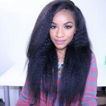 Lace Front Wigs Peruvian Virgin Human Hair Kinky Straight [LFW048]