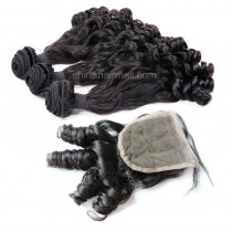 Malaysian virgin unprocessed natural color human hair wefts and 4*4 Lace Closure Eurasian Curly 3+1 pieces a lot Hair Bundles 95g/pc [MVEC3+1]