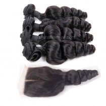 Malaysian virgin unprocessed natural color human hair wefts and 4*4 Lace Closure Peruvian Curly 4+1 pieces a lot Hair Bundles 95g/pc [MVPC4+1]