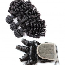 Malaysian virgin unprocessed natural color human hair wefts and 4*4 Lace Closure Spiral Curly 3+1 pieces a lot Hair Bundles 95g/pc [MVSC3+1]