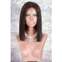 Lace Front Wigs Indian Remy Hair Bob Straight Deep Part [NEW04]