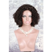 Deep Part Lace Front Wigs Indian Remy Hair Permanent Afro Curl Bob Wig [NEW10]