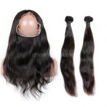 Malaysian Virgin Human Hair 360 Lace Frontal 22.5*4*2 Inch + 2 Bundles Natural Straight Natural