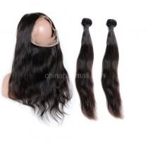 Peruvian Virgin Human Hair 360 Lace Frontal 22.5*4*2 Inch + 2 Bundles Natural Straight