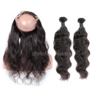 Malaysian Virgin Human Hair 360 Lace Frontal 22.5*4*2 Inch + 2 Bundles Natural Wave