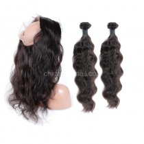 Peruvian Virgin Human Hair 360 Lace Frontal 22.5*4*2 Inch + 2 Bundles Natural Wave