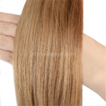 Pre bounded Keratin I/U/nail- tip hair extensions in virgin remy human hair chestnut brown #8 color 1g/piece 100 pieces per pack [PB1-8]