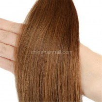 Pre bounded Keratin I/U/nail- tip hair extensions in virgin remy human hair light brown #6 color 1g/piece 100 pieces per pack [PB1-6]