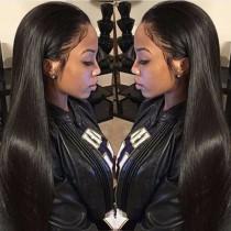 Pre-plucked Hairline Full Lace Wigs Brazilian Virgin Hair Yaki Straight [FW30]