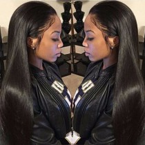 "Pre-Plucked 150% density Indian Remy Hair 360 Lace Wigs 22.5""*4.5""*2 hand tied with Wefts Top Yaki Straight [360YS04]"