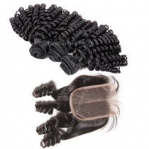 Peruvian virgin unprocessed human hair wefts and 4*4 Lace Closure Bouncy Curly 3 +1 pieces a lot Natural Color Hair Bundles 95g/pc [PVBC3+1]