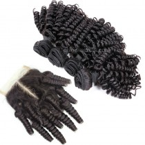 Brazilian virgin unprocessed human hair wefts and 4*4 Lace Closure Bouncy Curly 4+1 pieces a lot Hair Bundles 95g/pc [BVBC4+1]
