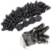 Peruvian virgin unprocessed human hair wefts and 4*4 Lace Closure Spiral Curly  4 +1 pieces a lot Natural Color Hair Bundles 95g/pc [PVSC4+1]