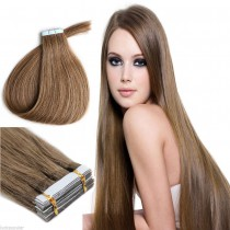 Seamless tape in hair extensions in virgin remy human hair chestnut brown #8 color straight 0.8*4cm size 20 pcs per set [TP20-8]