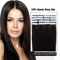 Seamless tape in hair extensions in virgin remy human hair off black #1B straight 0.8*4cm size 20 pcs per set [TP20-1B]