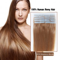 Seamless tape in hair extensions in virgin remy human hair strawberry blonde color straight 0.8*4cm size 20 pcs per set [TP20-27A]