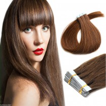 Seamless tape in hair extensions in virgin remy human hair light aubum #30 color straight 0.8*4cm size 40 pcs per set [TP40-30]