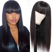 WowEbony Indian Remy Hair Full Bangs Yaki Straight Glueless Silk Top Non-Lace Wig [STNLW08]