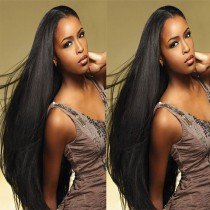 Glueless Full Lace Wigs Brazilian Virgin Hair Silky Straight