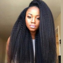 Glueless Full Lace Wigs Indian Remy Hair Kinky Straight