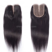 Brazilian Virgin Human Hair 4*4 Popular Lace Closure Yaki Straight Natural Hair Line and Baby Hair [BVYKTC]
