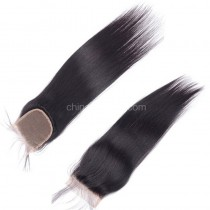 Peruvian Virgin Human Hair 4*4 Popular Lace Closure Yaki Straight Natural Hair Line and Baby Hair [PVYKTC]