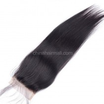 Malaysian Virgin Human Hair 4*4 Popular Lace Closure Yaki Straight Natural Hair Line and Baby Hair [MVYKTC]