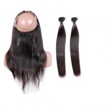 """Malaysian Virgin Hair 360 Lace Frontal Closure 22.5""""*4"""" Elastic Band"""