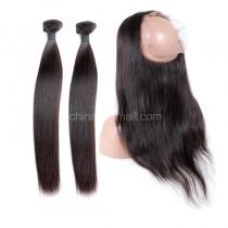 Peruvian Virgin Human Hair 360 Lace Frontal 22.5*4*2 Inch + 2 Bundles Yaki Straight