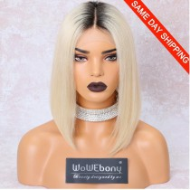 Same Day Shipping: WowEbony Blonde Hair Dark Root Bob Cut Lace Front Wigs, Indian Remy Hair, Silk Straight, NC/613, 150% Density[IR4.5DPOM2]