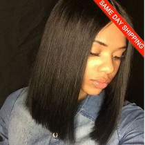 Same Day Shipping: WowEbony Yaki Straight Braizlian Virgin Hair Blunt Bob Cut Bob 360 Lace Frontal Wig [360YSBC03]