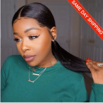 Same Day Shipping: WowEbony Pre-Plucked Yaki Straight 360 Lace Wigs 150% density, 6 Inches Deep Part Space, 100% Indian Remy Hair [N360YK01]