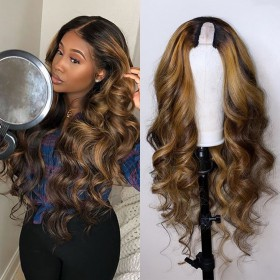 WoWEbony Affordable Colored Human Hair Easy Middle Part U Part Wigs{10 days processing} [UPT12]