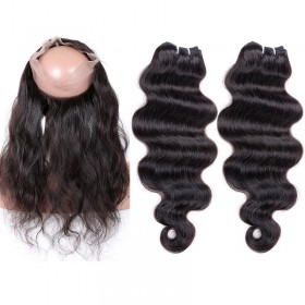 4.5inches Deep part Malaysian Virgin Human Hair 360 Lace Frontal with 2 Hair Bundles Body Wave Natural Color Bundle Weight 95g/PC [MVBW360LF2+1]