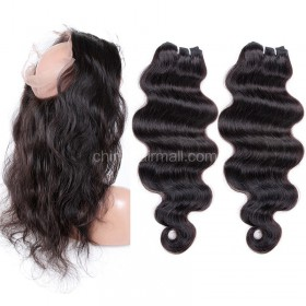 Brazilian Virgin Human Hair 4.5inches Deep part Pre-plucked 360 Lace Frontal + 2 Bundles Body Wave Bundle Weight 100g/PC[BVBW360LF2+1]